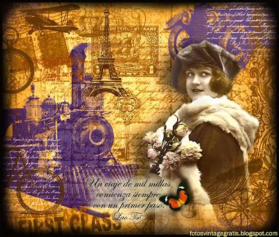 collage vintage con chica de los años veinte y tren antiguo
