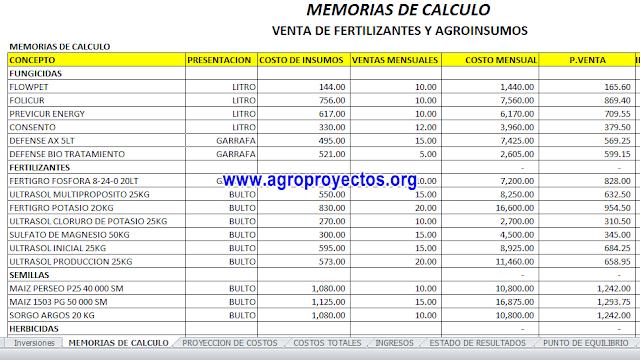 Gratis Corrida Financiera en Excel de Tienda de agroquimicos
