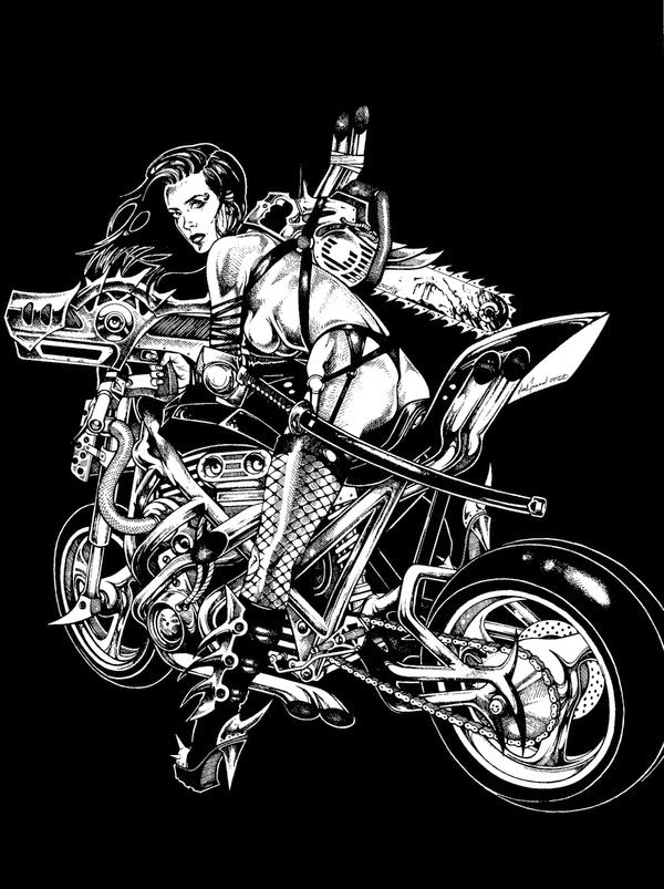 Dessin de Noël Guard représentant une guerrière cyberpunk sur une moto