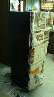 DIY - Repaint Old Refrigerator - cat tepi