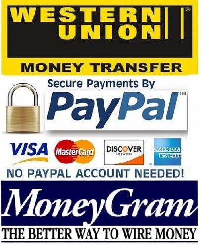 We Accept Paypal , Western Union &  Money Gram