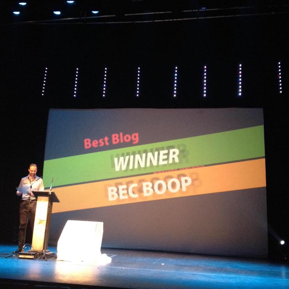 Bec Boop announced as winner of Best Blog in the OMIGAwards 2015