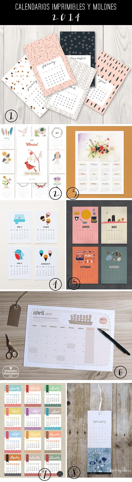 calendarios imprimibles 2014