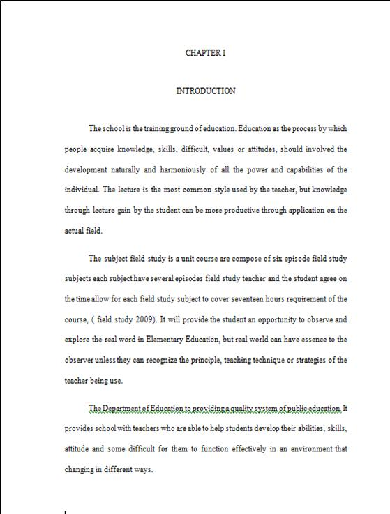 thesis statement descriptive essay
