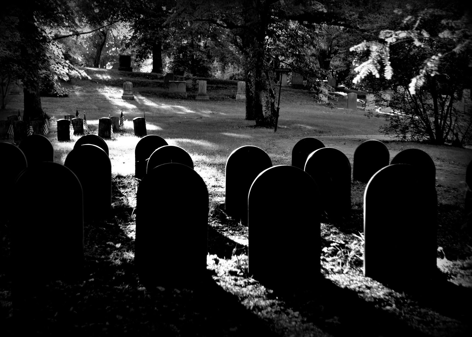 shadow, headstone, black and white photography, cemetery