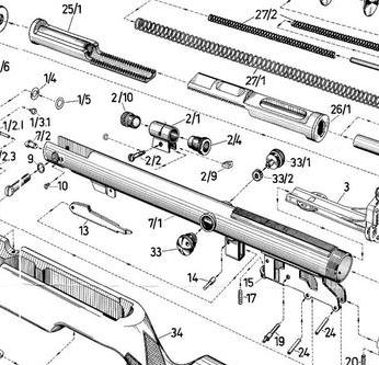 Despiece, diagramas, vista explosiva de armas de aire y airguns