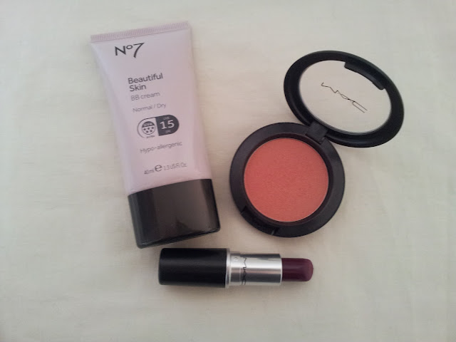 No7 Beautiful Skin BB Cream, MAC Blusher in Springsheen, MAC Lipstick in Rebel