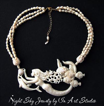 Mermaid Necklace Pearl Resin