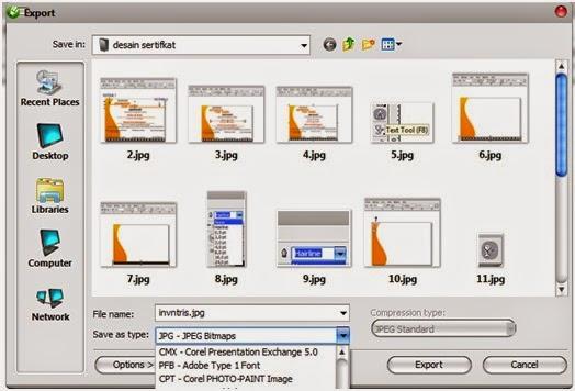 Kemudian anda pilih lokasi diamana anda mau menyimpan file tersebut – beri nama di kotak File name dan pilih format JPG Bitmap di dalam kotak Save as type :