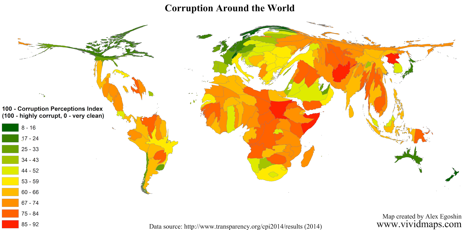 Inverted Corruption Perceptions Index (Cartogram)