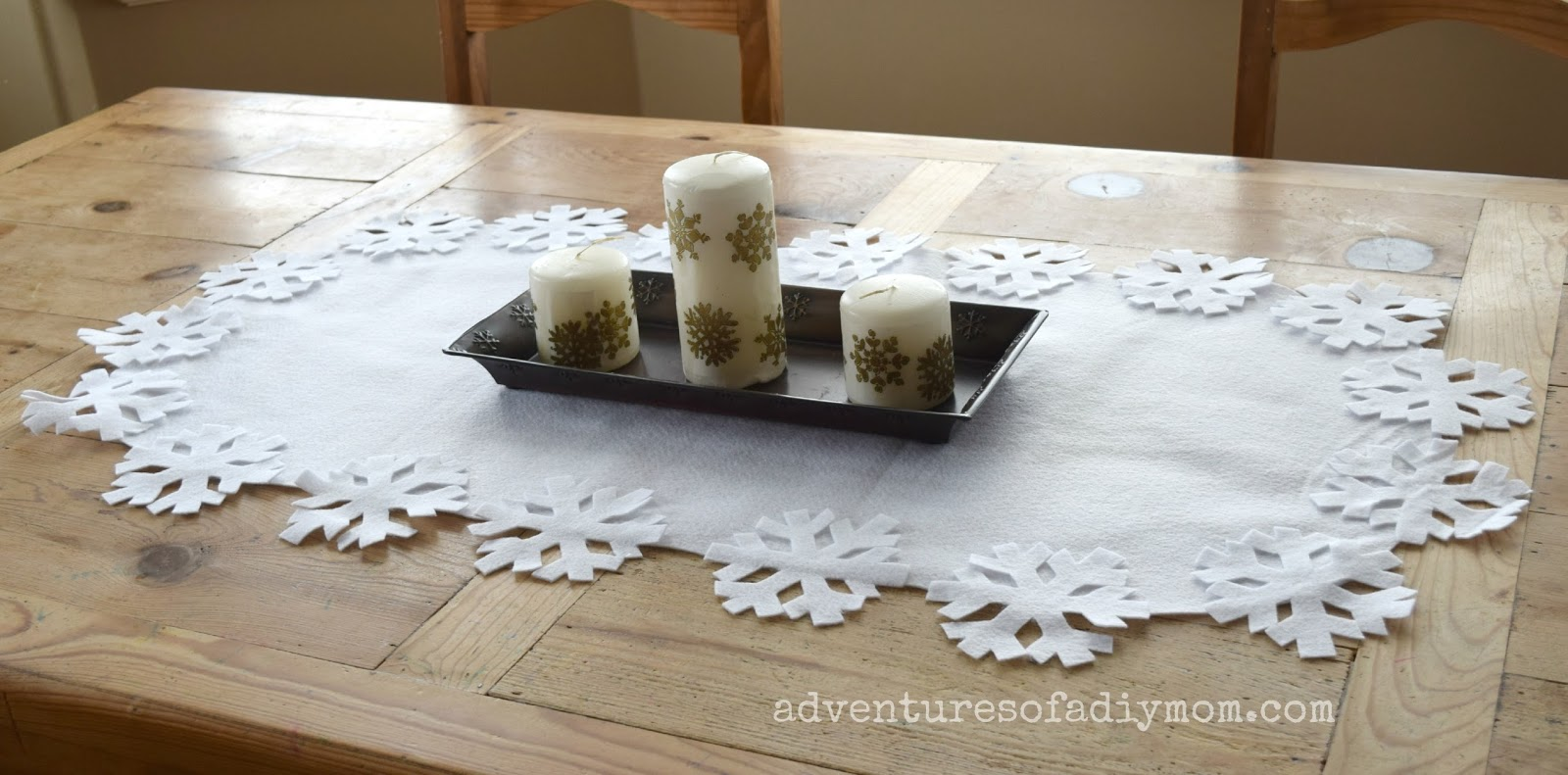 No-Sew Winter Table Runner