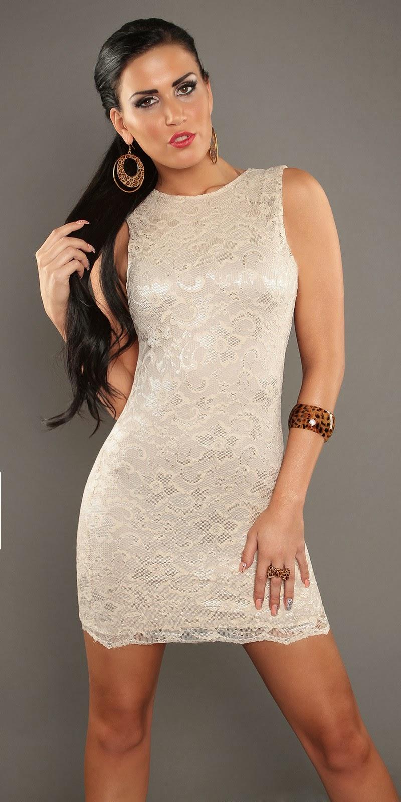 Modelos de vestidos cortos color beige