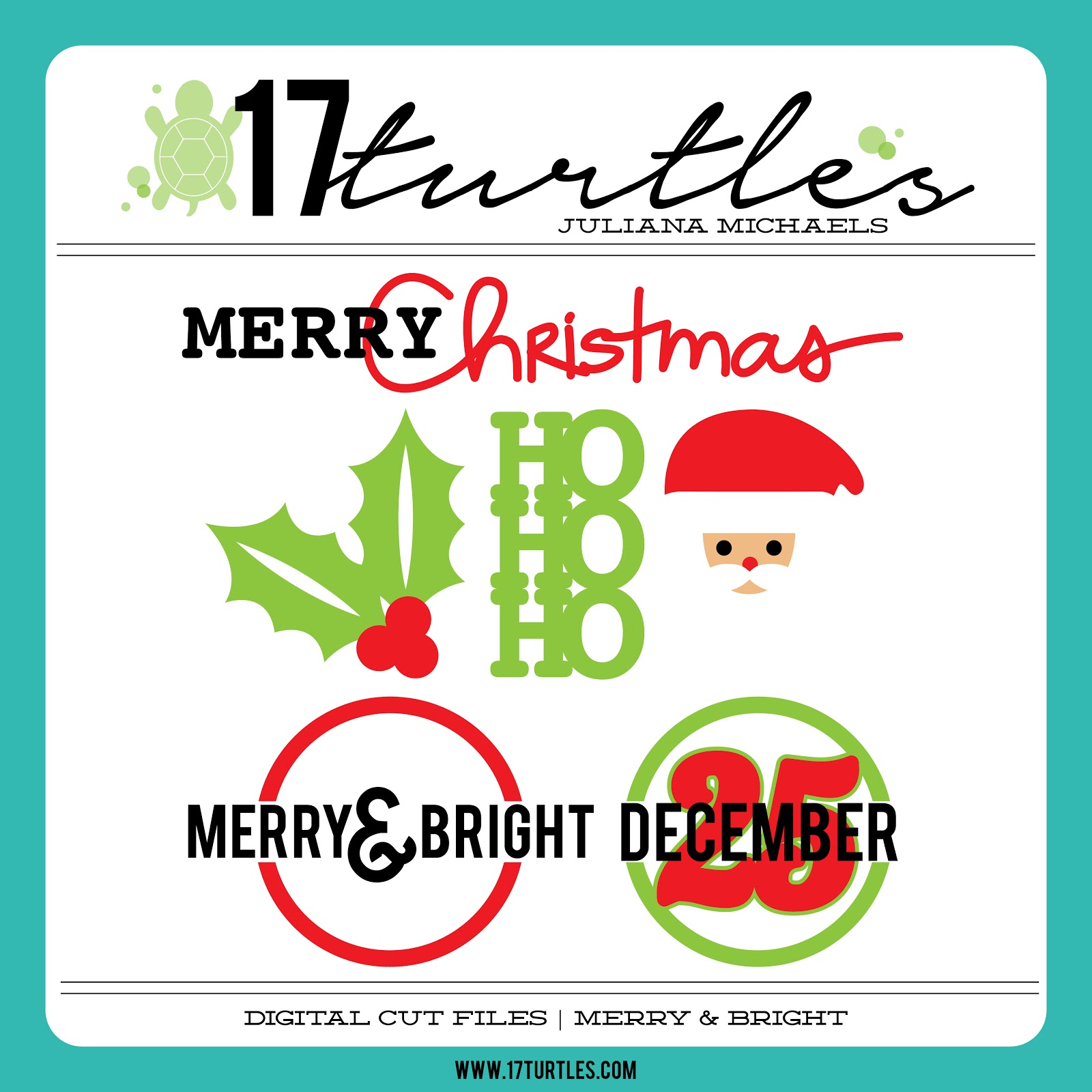 17turtles Digital Cut Files Merry & Bright
