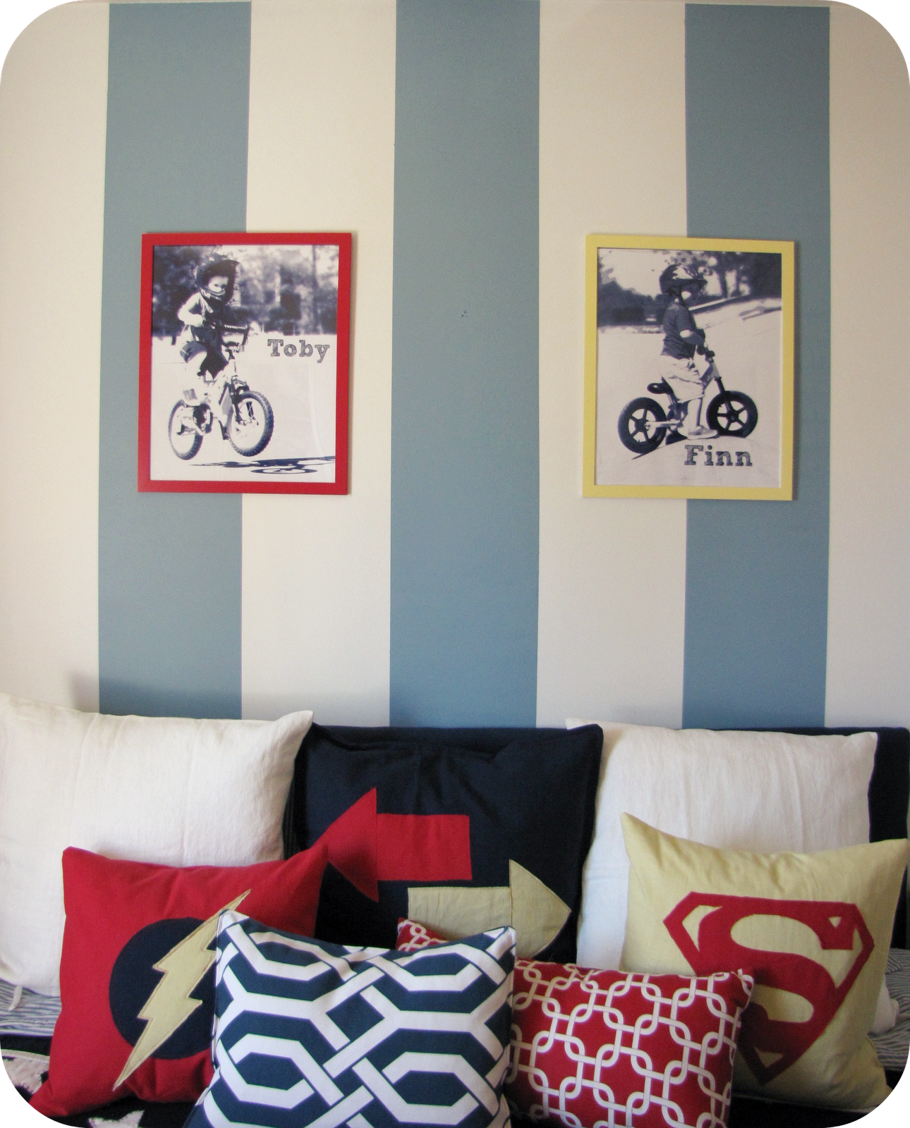 Red Yellow And Blue Striped Shared Boys Bedroom