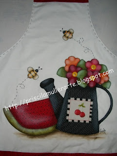 Avental com patch aplique charmoso de melancia e flores