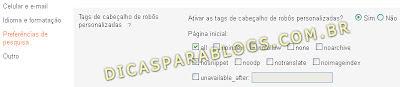 tags de cabeçalho para robos no blogger