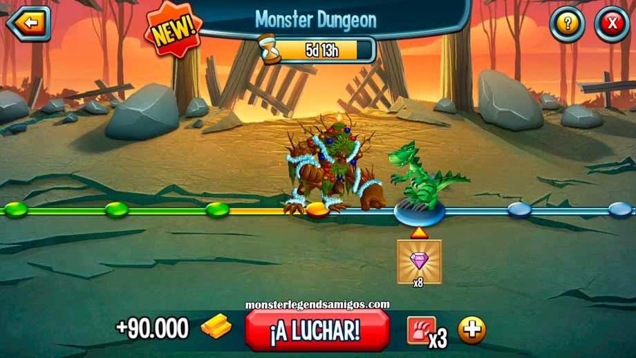imagen de la mazmorra de gemas de monster legends