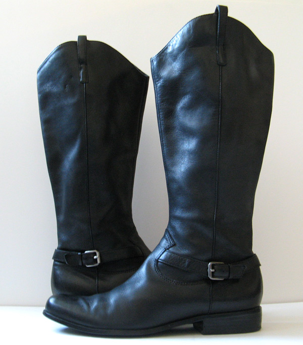 Fantastic Chuckies Womens Black Leather Side Zip Riding Boots  Eonew Shop