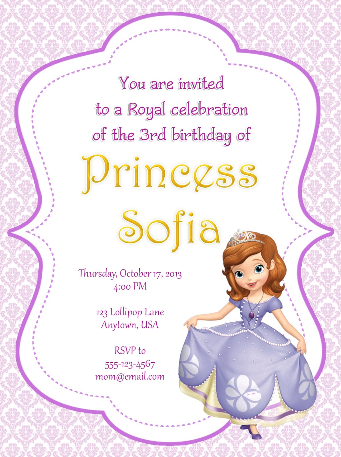 Sofia The First Party Invitations can inspire you to create best invitation template
