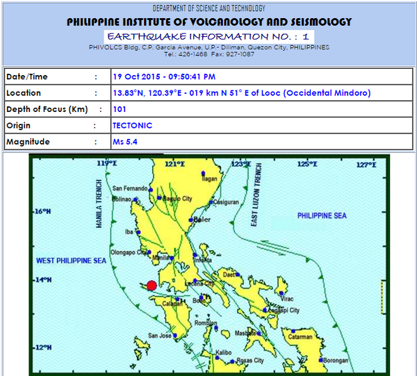 Magnitude 5.4 Earthquake jolts Occidental Mindoro