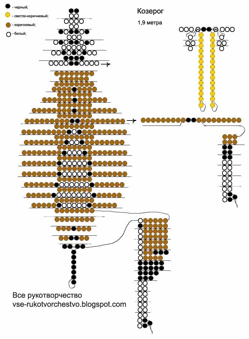 схема крокодила в бисероплетении