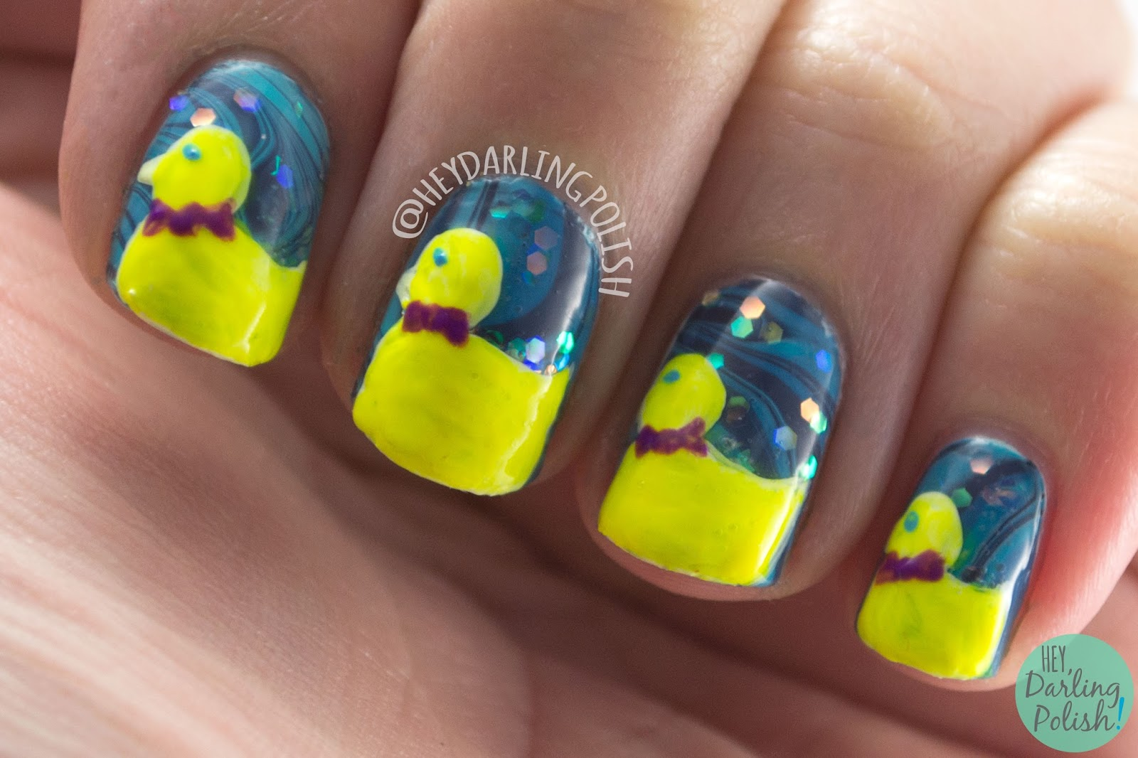 nails, nail art, nail polish, rubber duckies, ducks, hey darling polish, watermarble, blue, glitter, neon,