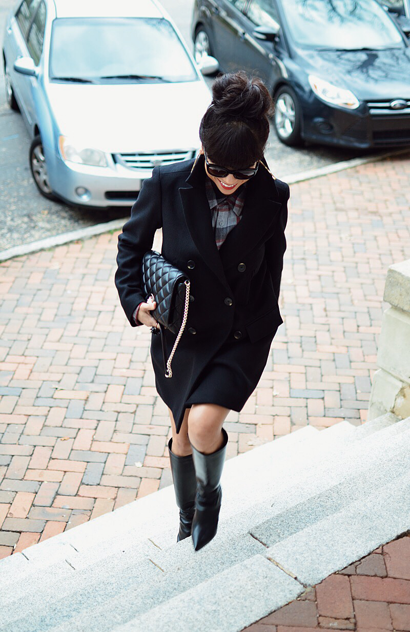 Outfit with a peacoat and tall boots