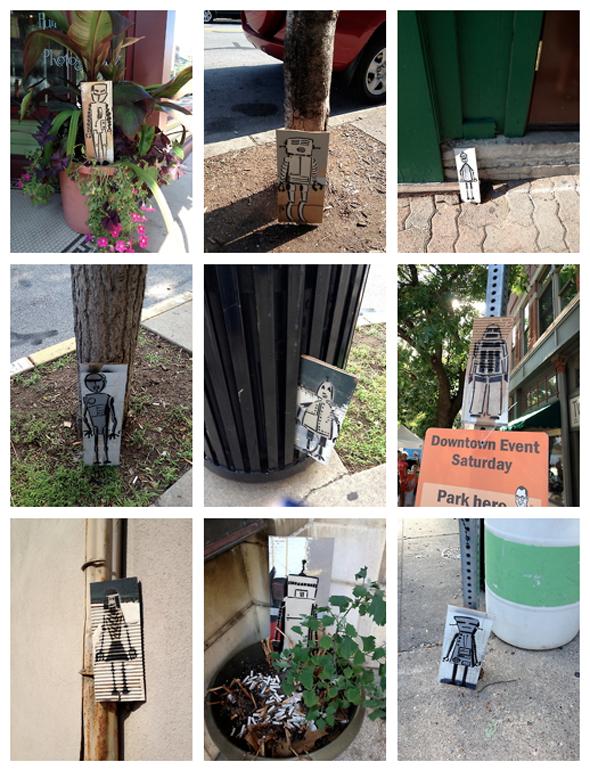 robots mosey down main street