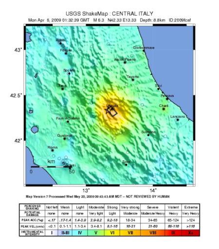 Aquila Italy Map.History Of Geology 6 April 2009 L Aquila Earthquake