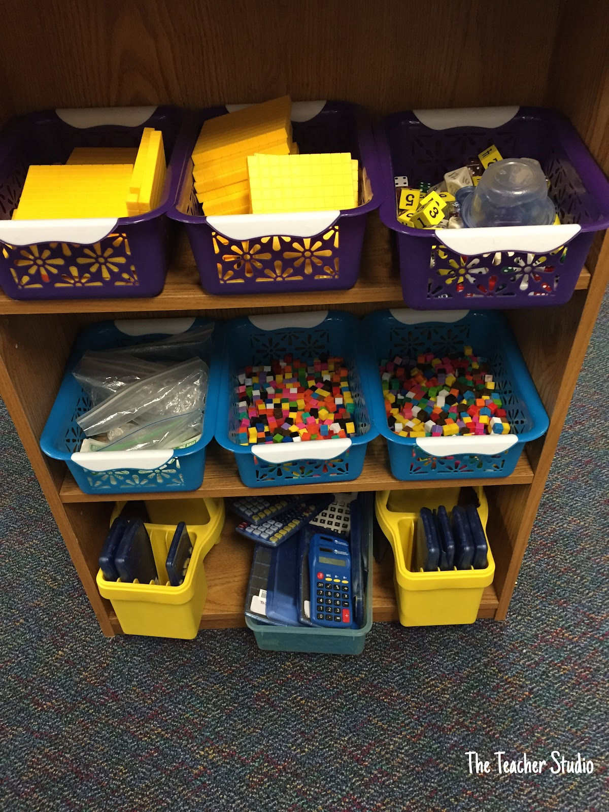 """One of our classroom jobs is """"Math Zone Organizer"""". Here is part of our Math Zone! Learn more about how I do math workshop in the post."""