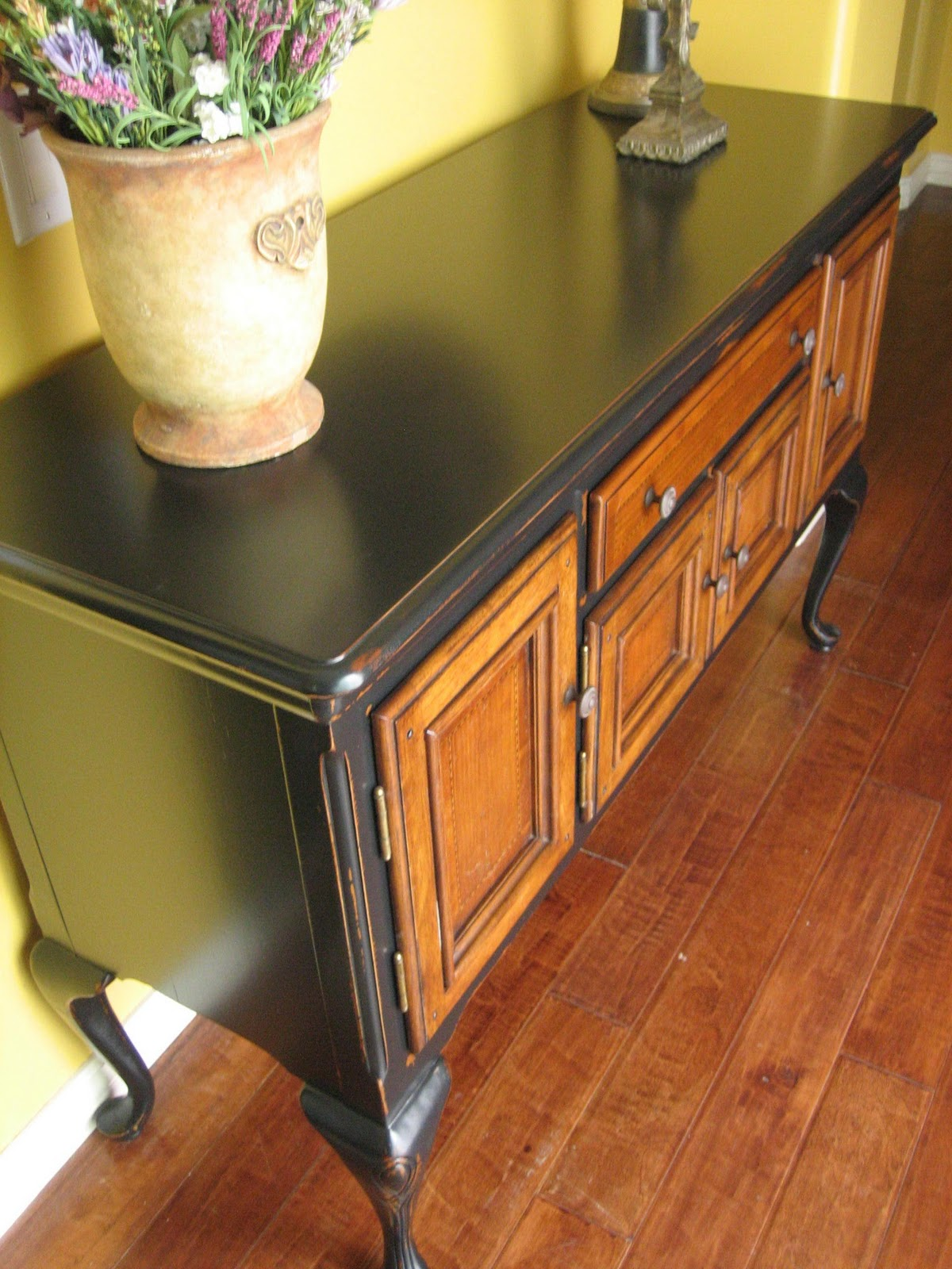 European Paint Finishes Black Sideboard W Wood Inlay