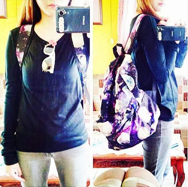 galaxy cosmic inspired bag back pack travel friendly cute kawaii purple violet nice fashion style moon stars planet store shop fashiontoany website hot korean