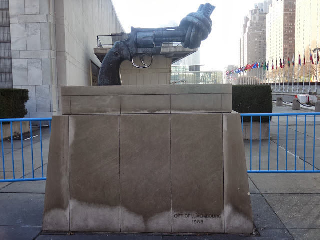 No guns and violent campaigns are promoted outside of the United Nations Headquarter Building in Manhattan Island, New York, USA