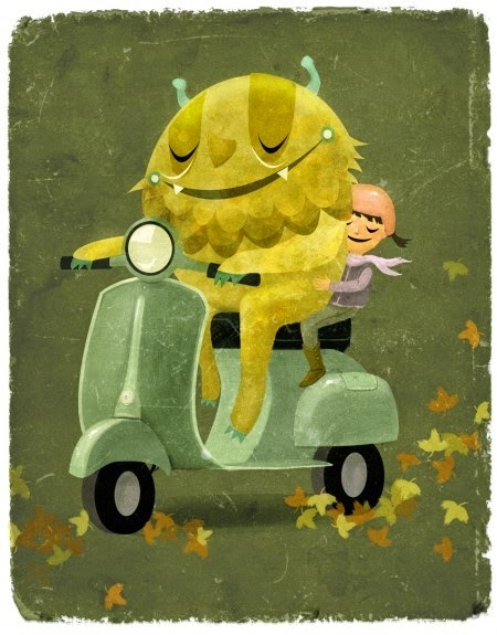 illustration by Jennifer Bricking of a monster and a girl couple on a vespa