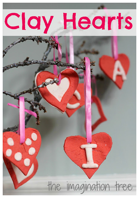 homemade clay heart ornaments for valentine's day craft