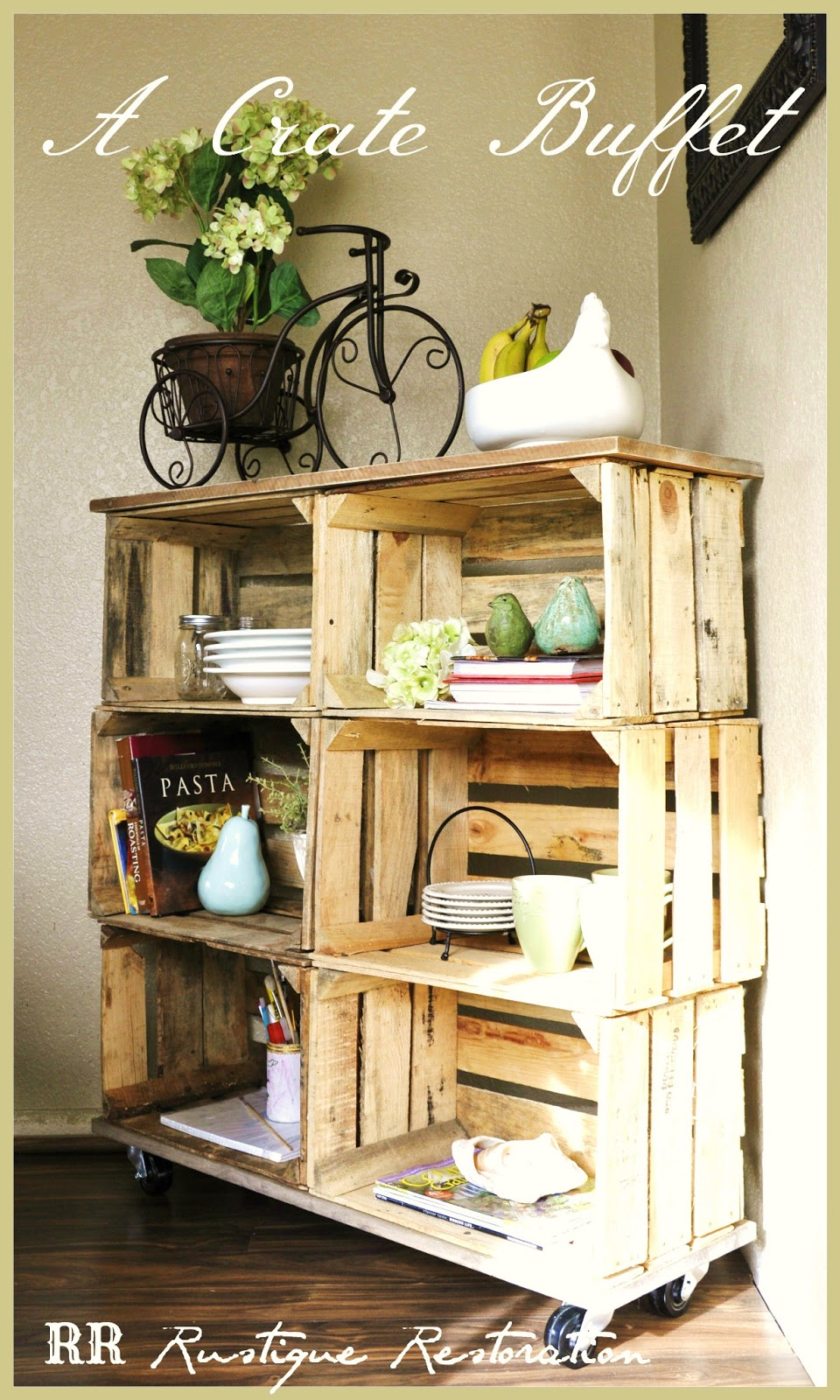 Rustique restoration diy crate buffet for Diy wooden crate ideas
