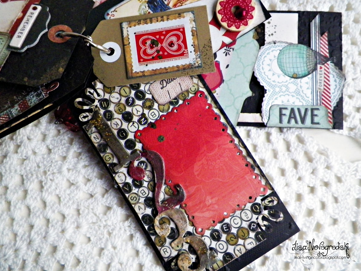 Tag Mini Album Inside Tags by Lisa Novogrodski using the Star Crossed Collection for BoBunny