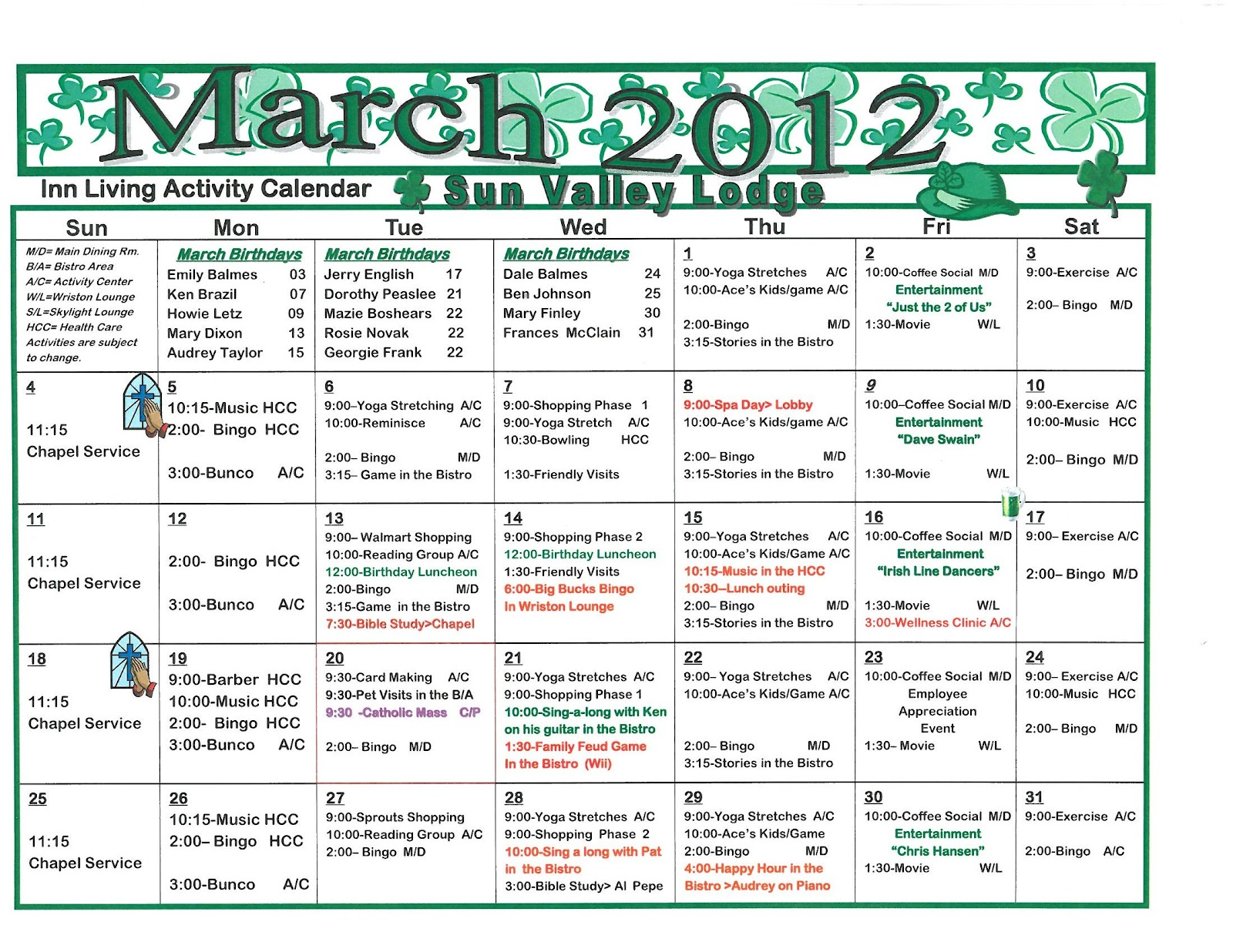 March Calendar Ideas : March independent assisted living activities