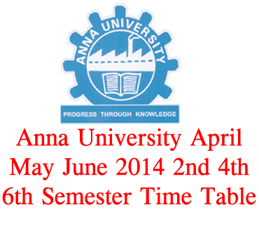 Anna university april may june 2014 1st 2nd 3rd 4th 5th for Rdvv 5th sem time table