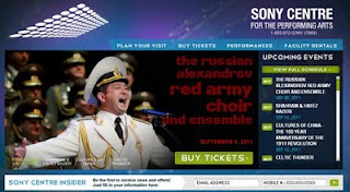 Sony Centre for the Performing Arts: Russian Alexandrov Red Army Choir and Ensemble, screenshot