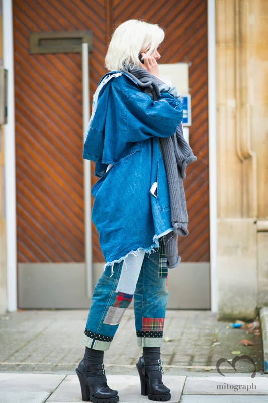 British Vogue Editor Francesca Burns wears Junya Watanabe Jeans and Prada Shoes at London Fashion Week