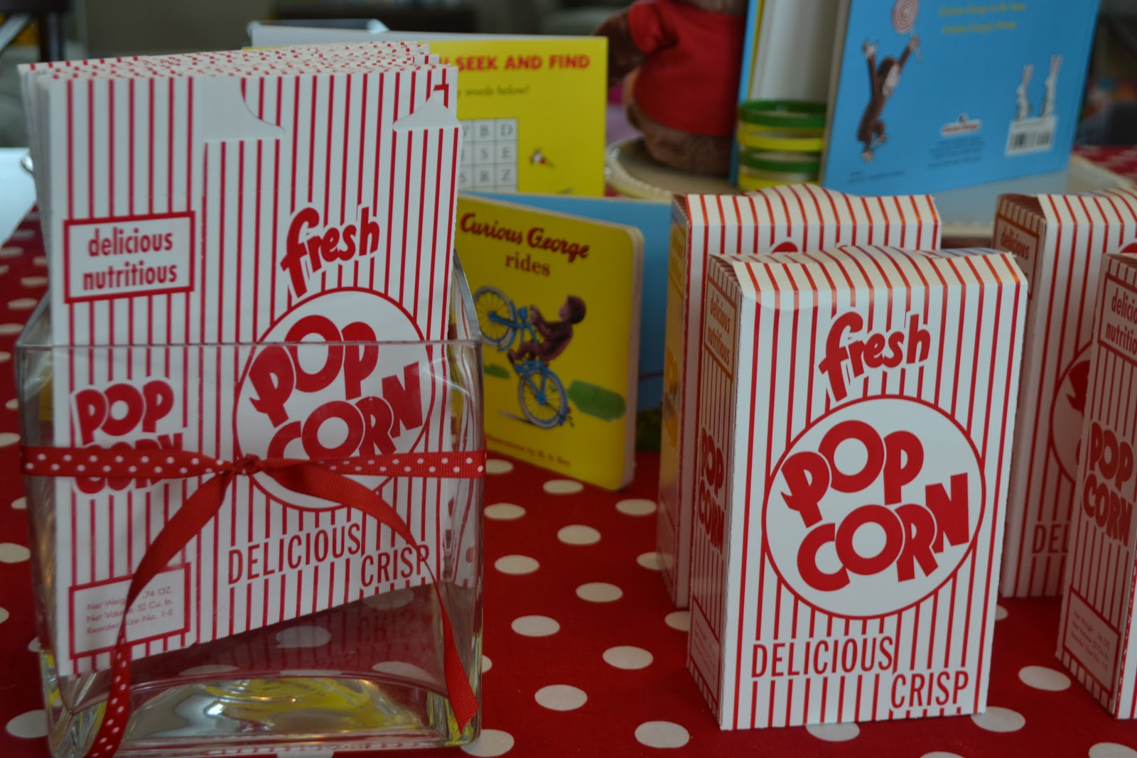 Popcorn boxes at Curious George Birthday Party