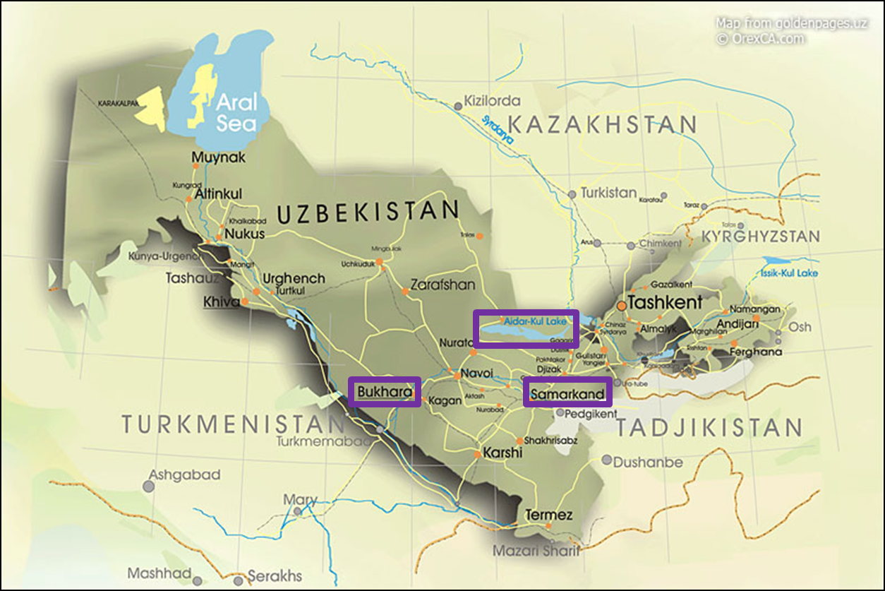 Lake Aydar Kul Uzbekistan Educational Blog Tourism - Uzbekistan map png