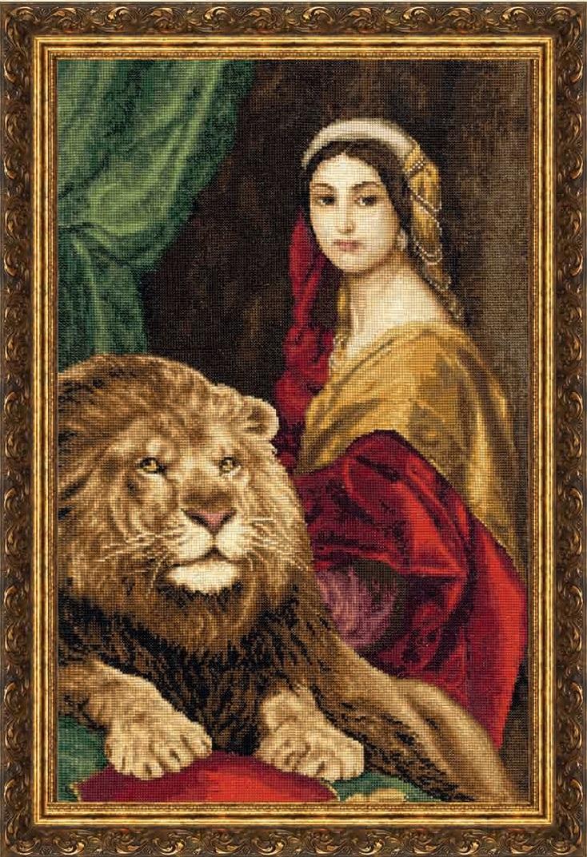 Девушка и лев схема вышивки 74