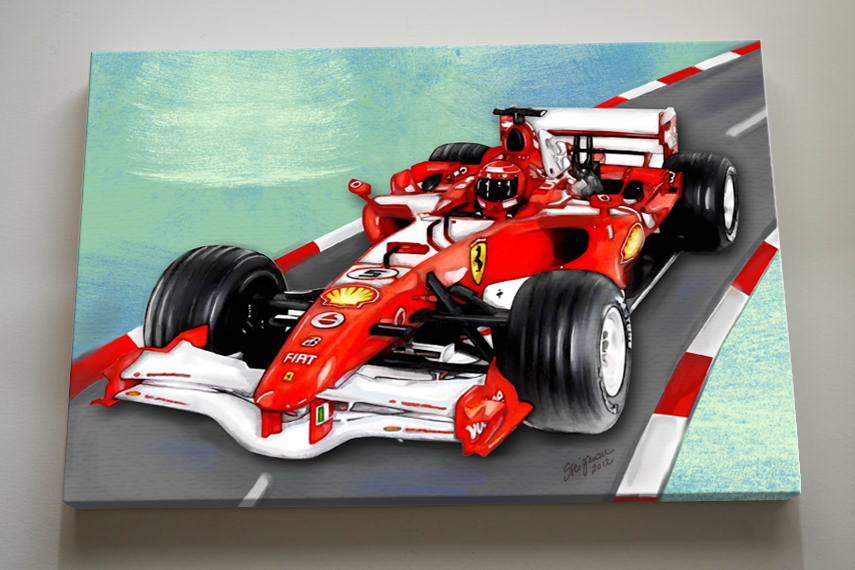 Race Car Nursery Canvas Art , Race Car Wall Hanging, 12x16 Baby Boys Room Art Print