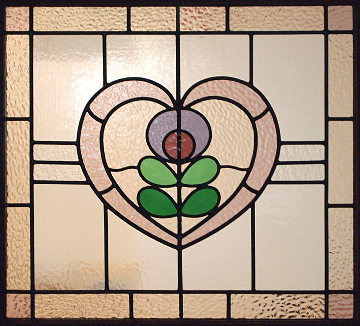 Through The Round Window 1930s Stained Glass Door Panel With