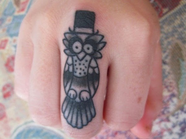 Cute Finger Owl Tattoo for Women