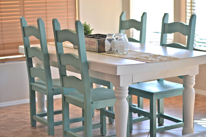Dining room table makeover paddington way for Dining table color ideas
