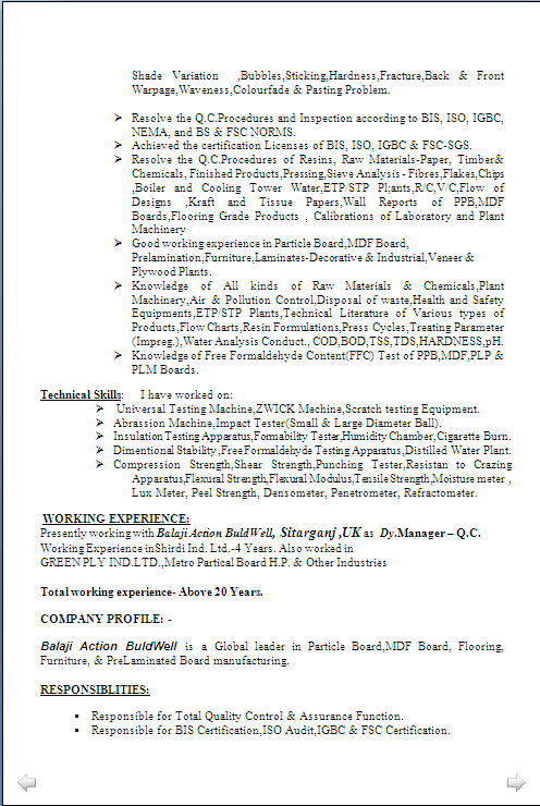 resume sample for manager  q c  u0026 lab   having 21 years