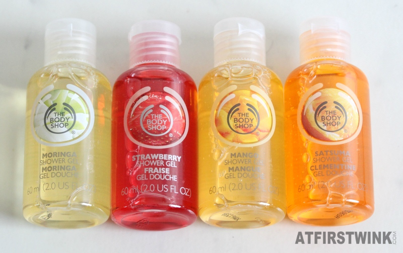 The Body Shop mini shower gels moringa strawberry mango and satsuma